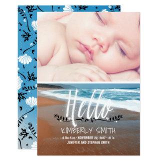 ビーチのベビーの誕生の写真の発表こんにちは 12.7 X 17.8 インビテーションカード