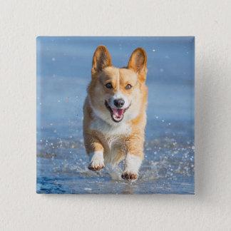 ビーチのペンブロークのウェルシュコーギー犬のランニング 缶バッジ