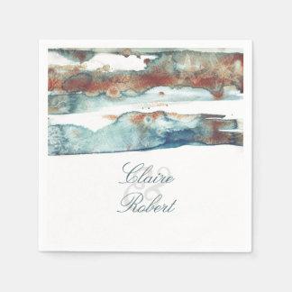 ビーチのモダンな水彩画のヒトデの結婚式 スタンダードカクテルナプキン