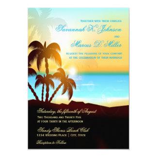 ビーチのヤシの木の行先の結婚式招待状 カード