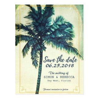 ビーチのヤシの木のKey Westの熱帯保存日付 ポストカード