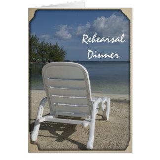 ビーチのラウンジの結婚式のリハーサルの夕食の招待状 カード