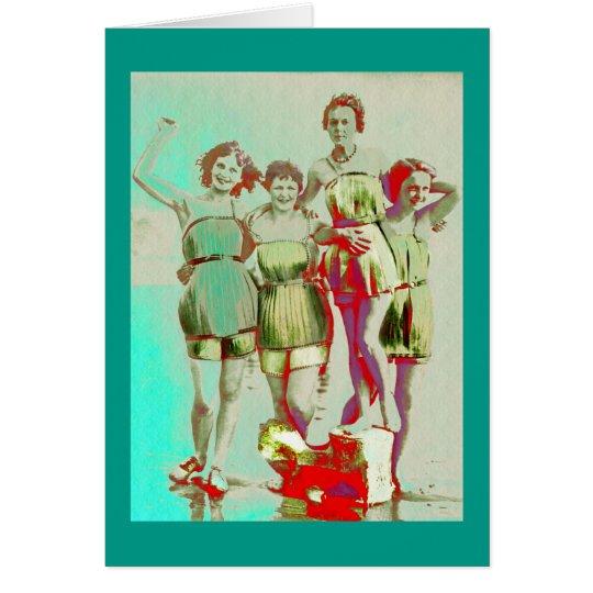 ビーチのレトロの女の子日 グリーティングカード