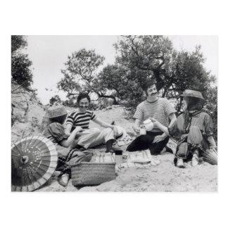 ビーチのヴィンテージの写真のEdwardianのピクニック ポストカード
