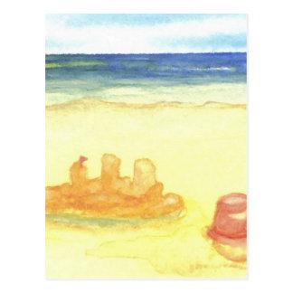 ビーチの人生のSandcastles及びバケツのシンボルや象徴 ポストカード