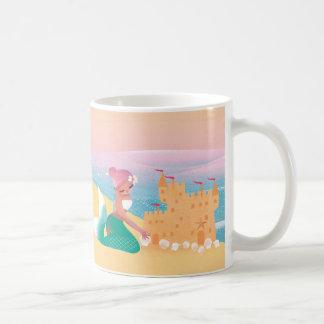 ビーチの人魚の日のかわいい絵 コーヒーマグカップ