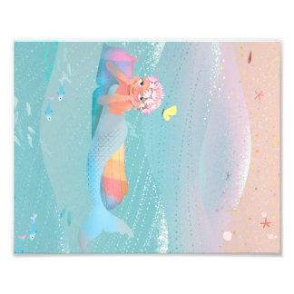 ビーチの人魚の日のかわいい絵 フォトプリント