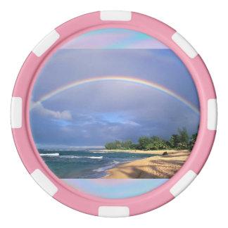 ビーチの側面の虹が付いているポーカー用のチップ ポーカーチップ
