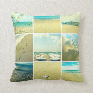 ビーチの写真のコラージュの枕の日 クッション