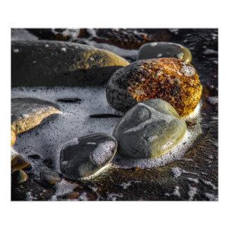 ビーチの写真のプリントの小石 フォトプリント