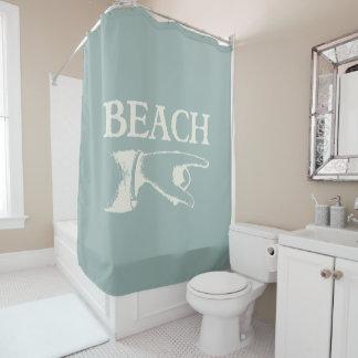 ビーチの印を指すヴィンテージ シャワーカーテン