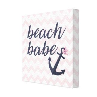 ビーチの可愛い人のベビーの養樹園の航海のないかりの装飾 キャンバスプリント