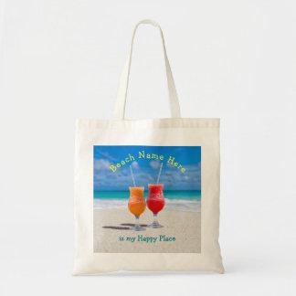 ビーチの名前入りで幸せな場所のトートの飲み物 トートバッグ