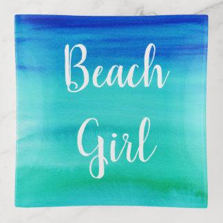 ビーチの女の子の水彩画の原稿の装身具の皿 トリンケットトレー