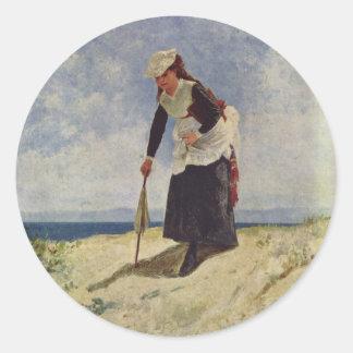 ビーチの女の子-ジウゼッペde Nittis ラウンドシール