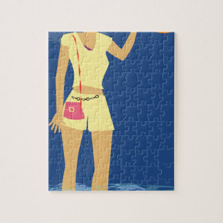 ビーチの女性のヴィンテージ ジグソーパズル