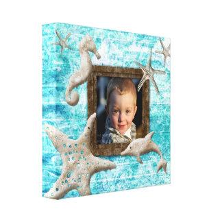 ビーチの子供のキャンバスのプリントの写真テンプレートの海の青 キャンバスプリント
