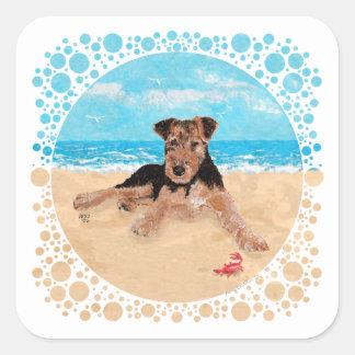 ビーチの子犬 スクエアシール