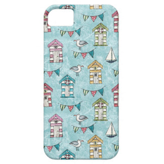 ビーチの小屋およびカモメパターン iPhone SE/5/5s ケース