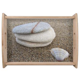 ビーチの小石および貝の皿 トレー