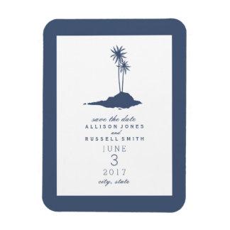 ビーチの島の結婚式の保存濃紺日付- 柔らかいマグネット