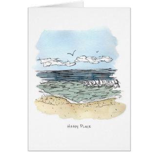 ビーチの幸せな場所のメッセージカード カード