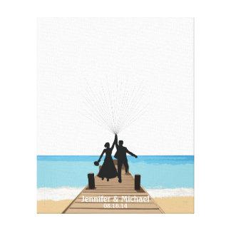 ビーチの指紋の気球のゲストブック キャンバスプリント