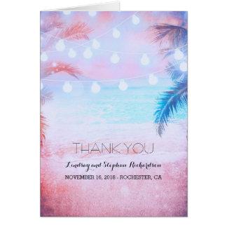 ビーチの日没のパステル調の結婚式のサンキューカード カード