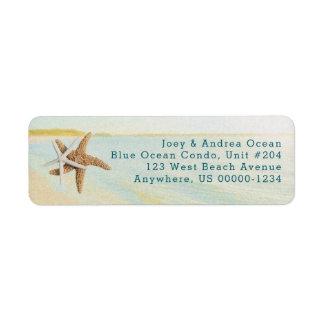 ビーチの日没のヒトデの沿岸宛名ラベル 返信用宛名ラベル