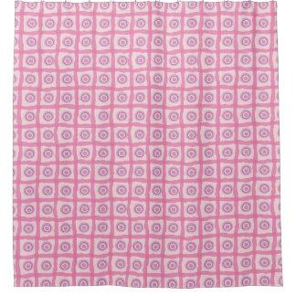 ビーチの日没のピンクのオーガニックな円およびリボン シャワーカーテン