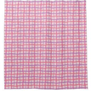 ビーチの日没のピンクのギンガム シャワーカーテン