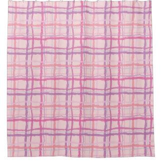 ビーチの日没のピンクの格子縞 シャワーカーテン