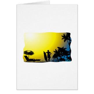 ビーチの日没の波 カード