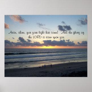 ビーチの日没はプリントアイザイアの60:1の起こります ポスター