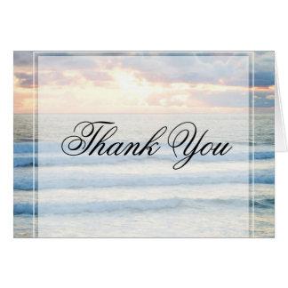 ビーチの日没は感謝していしています カード