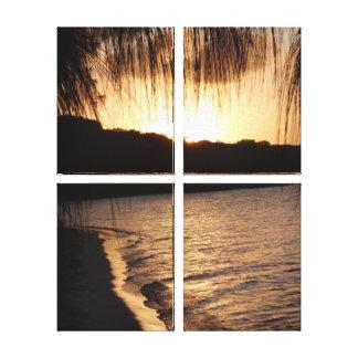 ビーチの日没 キャンバスプリント
