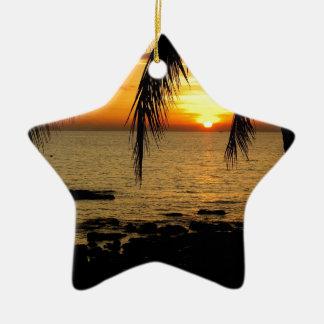 ビーチの日没 セラミックオーナメント