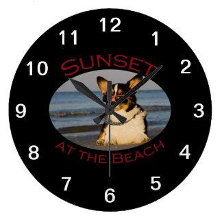ビーチの日没 ラージ壁時計