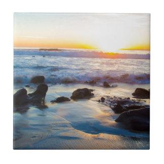 ビーチの日没 正方形タイル小