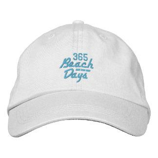 ビーチの日365の帽子(白くか青) 刺繍入りキャップ