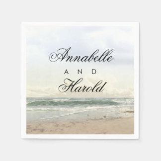 ビーチの景色のロマンチックな結婚式 スタンダードカクテルナプキン