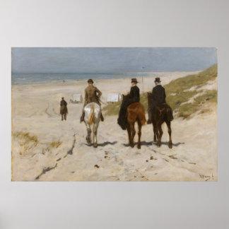 ビーチの朝の乗車-アントンの藤色 ポスター