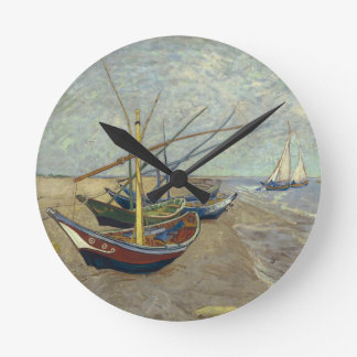 ビーチの柱時計の漁船 ラウンド壁時計