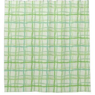 ビーチの植物相の緑のシャワー・カーテンの格子縞 シャワーカーテン