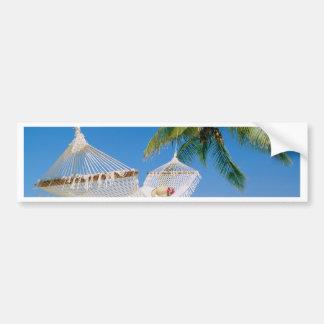 ビーチの楽園の休暇のハンモック バンパーステッカー