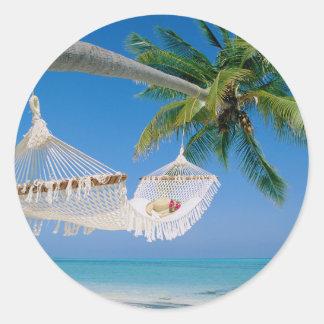 ビーチの楽園の休暇のハンモック ラウンドシール