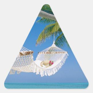 ビーチの楽園の休暇のハンモック 三角形シール