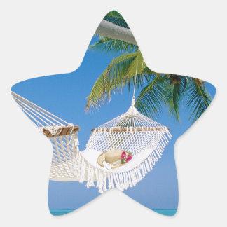 ビーチの楽園の休暇のハンモック 星シール