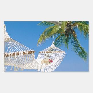 ビーチの楽園の休暇のハンモック 長方形シール