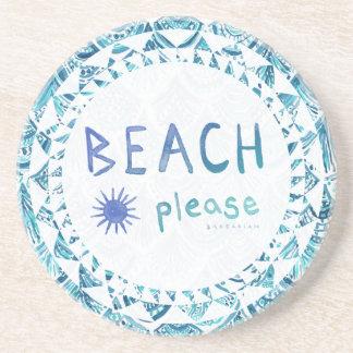 ビーチの水彩画のおもしろいな引用文の*Ombre* コースター